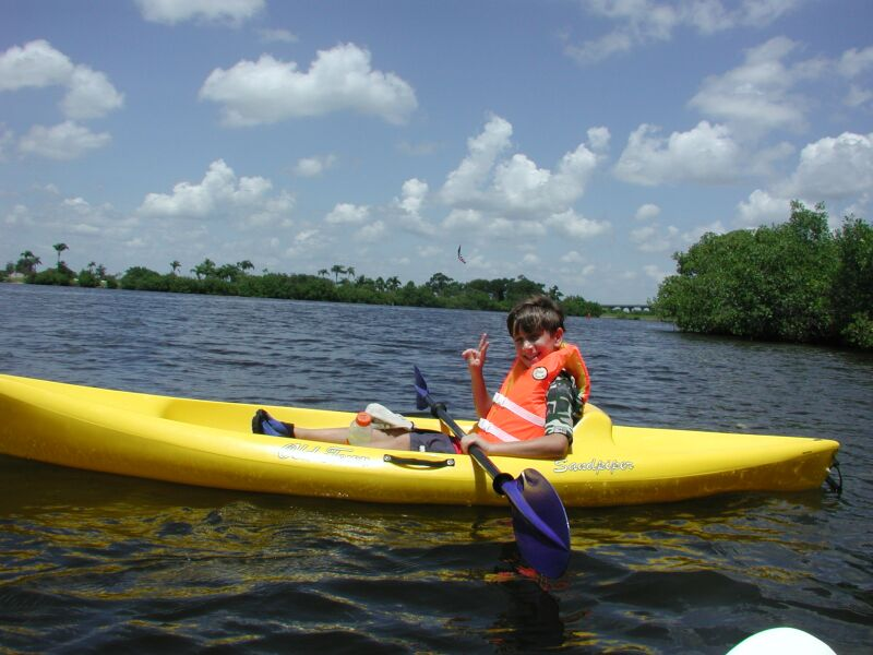 Jake trying out various kayaks in Vero Beach