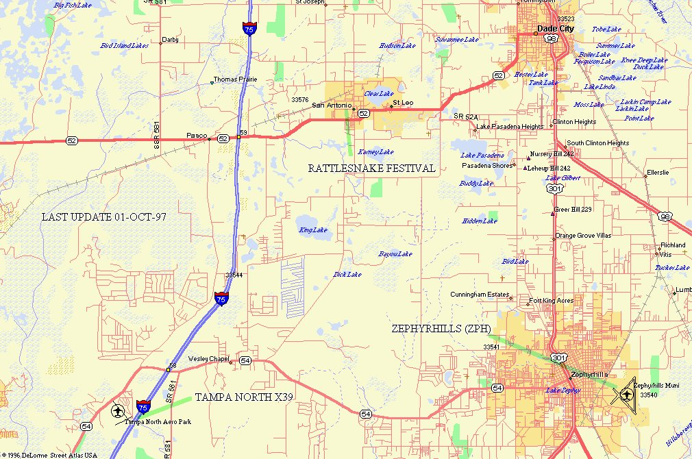 THIS IS A MAP OF THE TAMPA NORTH (X39 AND ZEPHYRHILLS AREA