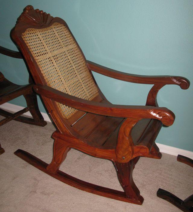 C Philippine Rocking Chair 727 Narra Wood Rattan Back